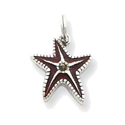 Sterling Silver Brown Enameled Starfish Charm