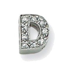 Sterling Silver CZ Initial D Slide Pendant