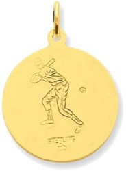 Gold-plated Sterling Silver St. Christopher Baseball Medal Charm
