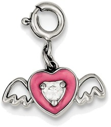 Sterling Silver Pink Enameled CZ Heart with Wings Charm