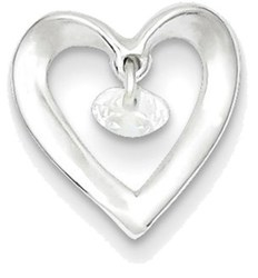 Sterling Silver Polished Heart w/ CZ Dangle Pendant