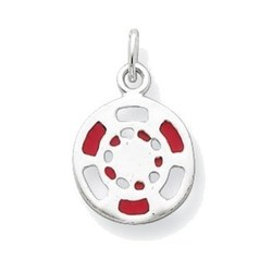 Sterling Silver Red/White Enameled Poker Chip Charm