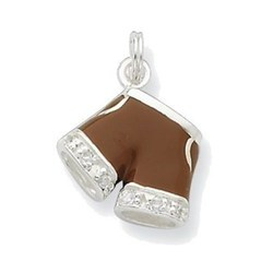 Sterling Silver CZ Brown Enameled Polished Shorts Charm