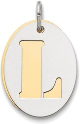 Sterling Silver L Initial L Double Plate Oval Charm