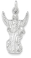 Sterling Silver Polished & Textured Jesus with Hands Up Pendant