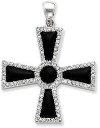 Sterling Silver CZ & Black Onyx Cross Pendant
