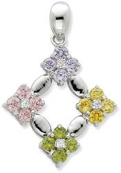 Sterling Silver Multicolor CZ Flower Circle Pendant