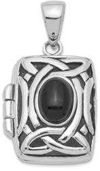 Sterling Silver Rhodium-plated Black Onyx Locket Pendant