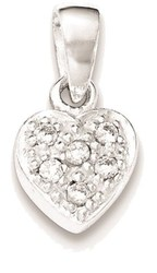Sterling Silver Polished CZ Heart Pendant QP4118