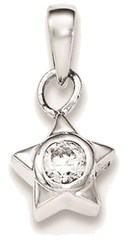 Sterling Silver Rhodium-plated w/ CZ Star Pendant