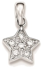 Sterling Silver Polished CZ Star Pendant QP4141