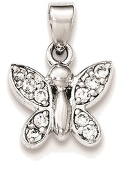 Sterling Silver Polished CZ Butterfly Pendant