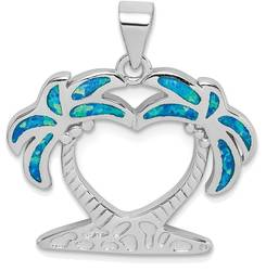 Sterling Silver Rhodium-plated Lab-Created Blue Opal Palm Trees Pendant