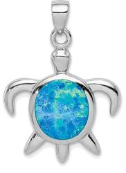 Sterling Silver Lab-Created Opal Turtle Pendant