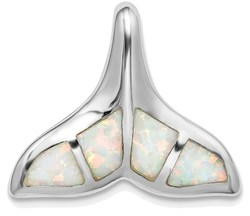 Sterling Silver Rhodium-plated Lab-Created Opal Inlay Whale Tail Slide Pendant