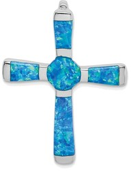 Sterling Silver Lab-Created Opal Cross Slide Pendant