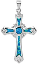 Sterling Silver Rhodium-plated Lab-Created Blue Opal / CZ Cross Pendant