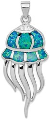 Sterling Silver Rhodium-plated Lab-Created Blue Opal Jellyfish Pendant