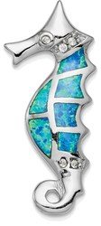 Sterling Silver Rhodium-plated Lab-Created Opal and CZ Seahorse Slide Pendant