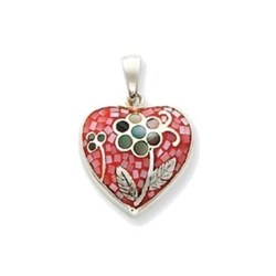 Sterling Silver Heart with Multicolored Shell Pendant