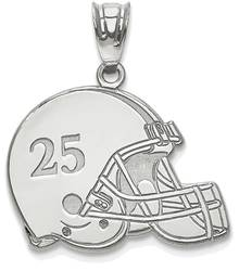Sterling Silver Rhodium-plated Lasered Football Helmet Number And Name Pendant