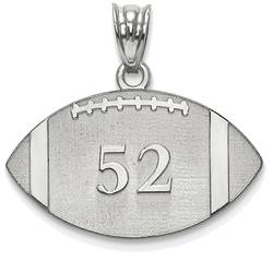Sterling Silver Rhodium-plated Lasered Football Number And Name Pendant