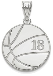 Sterling Silver Rhodium-plated Lasered Basketball Number And Name Pendant