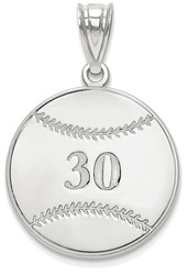 Sterling Silver Rhodium-plated Lasered Baseball Number And Name Pendant
