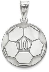 Sterling Silver Rhodium-plated Lasered Soccer Number And Name Pendant