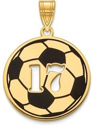 Gold Plated Sterling Silver Epoxied Soccer Ball Pendant with Number