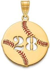 Gold Plated Sterling Silver Epoxied Baseball Pendant with Number