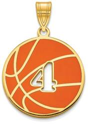Gold Plated Sterling Silver Epoxied Basketball Pendant with Number