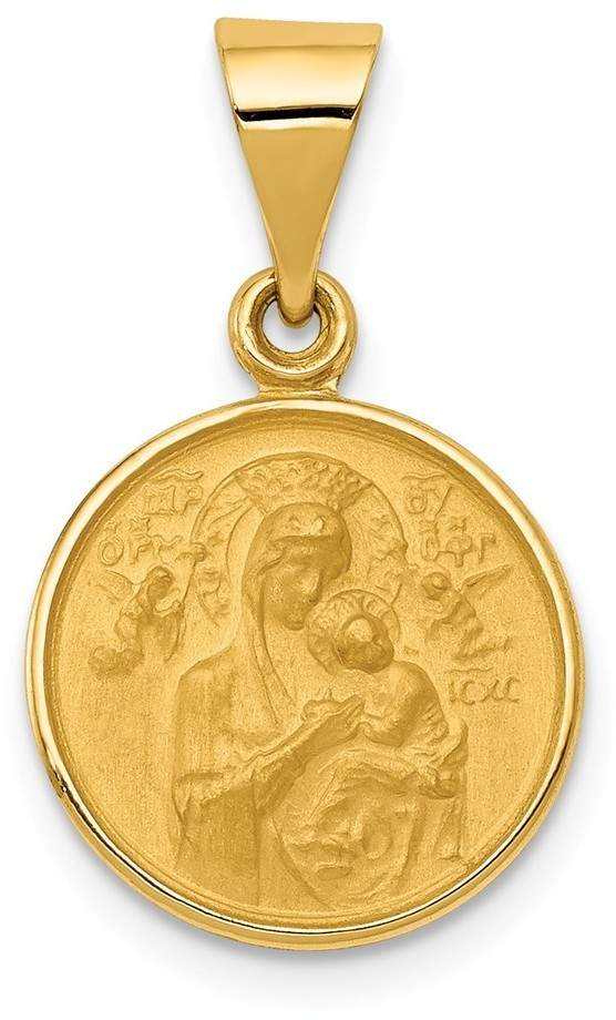 18K Yellow Gold Our Lady Of Perpetual Help Medal Pendant
