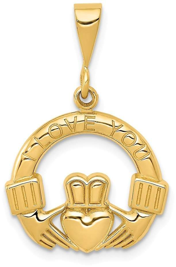 14K Yellow Gold I Love You Claddagh Pendant