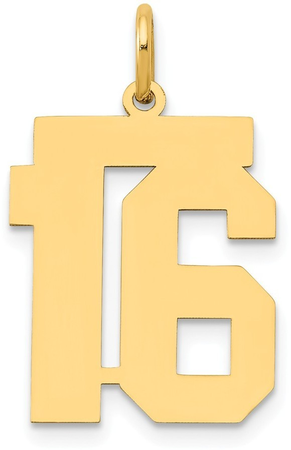14k Yellow Gold Medium Polished Number 16 Charm Lm16