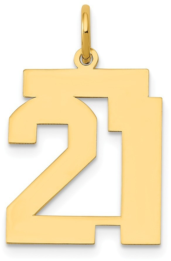 14k Yellow Gold Medium Polished Number 21 Charm Lm21