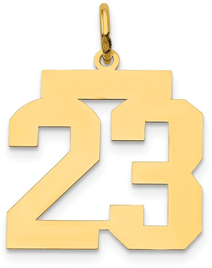 14k Yellow Gold Medium Polished Number 23 Charm Lm23