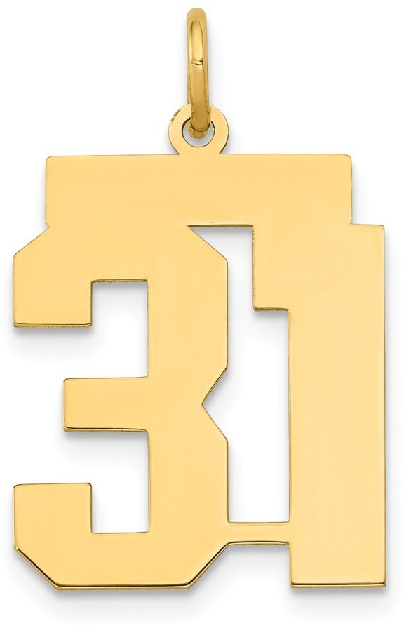 14k Yellow Gold Medium Polished Number 31 Charm Lm31