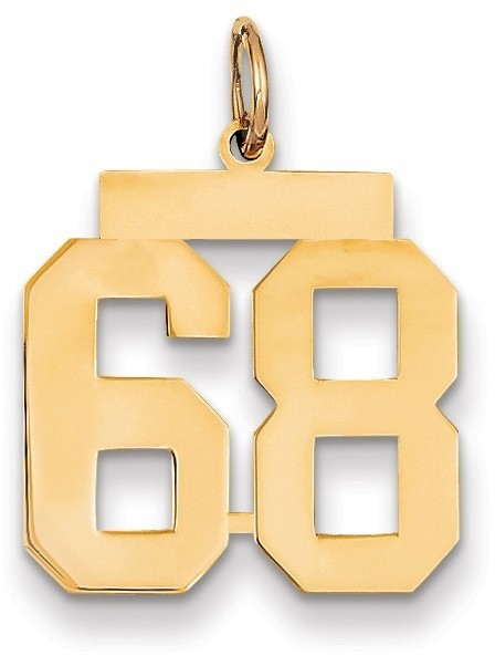 14k Yellow Gold Medium Polished Number 68 Charm Lm68