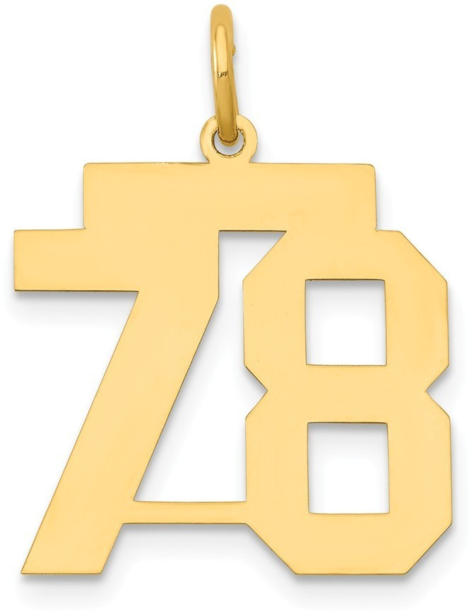 14k Yellow Gold Medium Polished Number 78 Charm Lm78