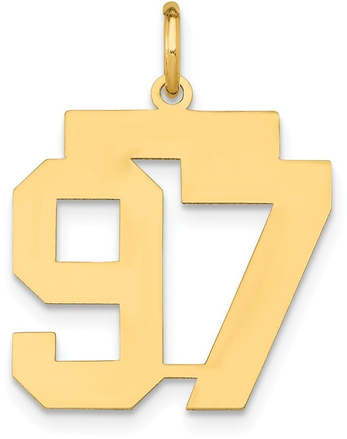 14k Yellow Gold Medium Polished Number 97 Charm Lm97