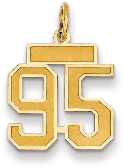 Diagram 14k Yellow Gold Small Satin Number 95 Charm