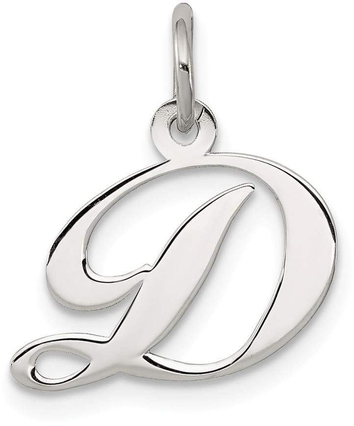 925 Sterling Silver Polished Small Fancy Script Initial Letter D Charm Pendant