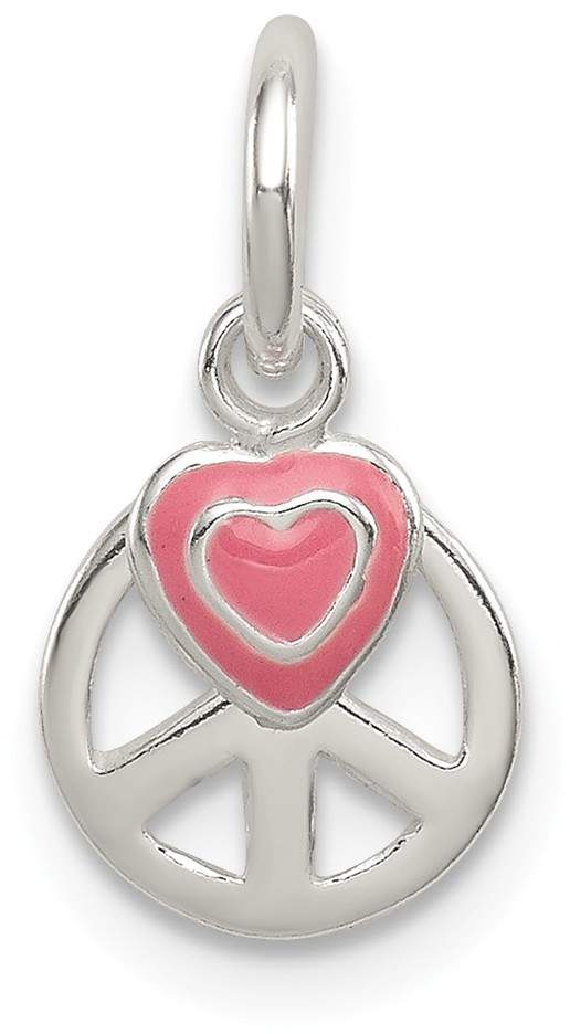 Sterling Silver Peace Sign w/ Pink Enamel Heart Pendant QC7723