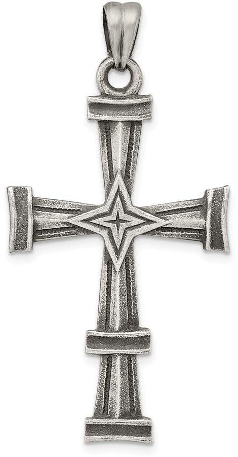 Mireval Sterling Silver Antiqued Polished and Brushed Latin Cross Pendant