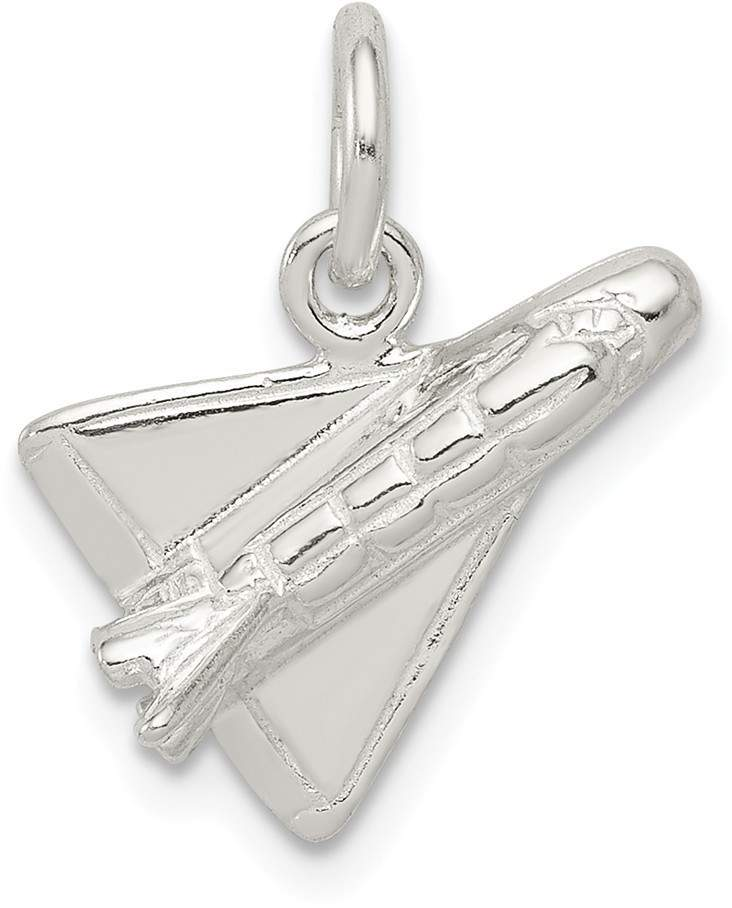 Sterling Silver Polished 3-D Shuttle Rocket Pendant
