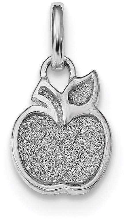 Rhodium-Plated Sterling Silver Polished Enamel & Glitter Apple Charm