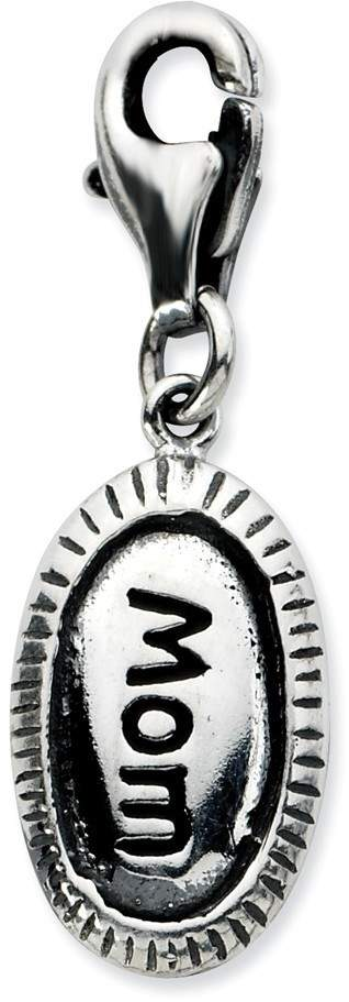 Sterling Silver Antiqued Mom w/ Lobster Clasp Charm