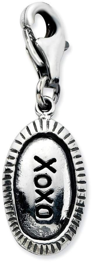 Sterling Silver Antiqued XOXO w/ Lobster Clasp Charm