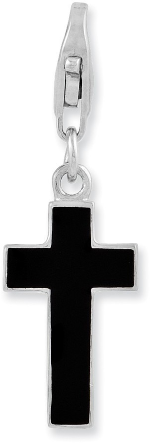 Rhodium-Plated Sterling Silver Enameled Cross w/ Lobster Clasp Charm QCC941